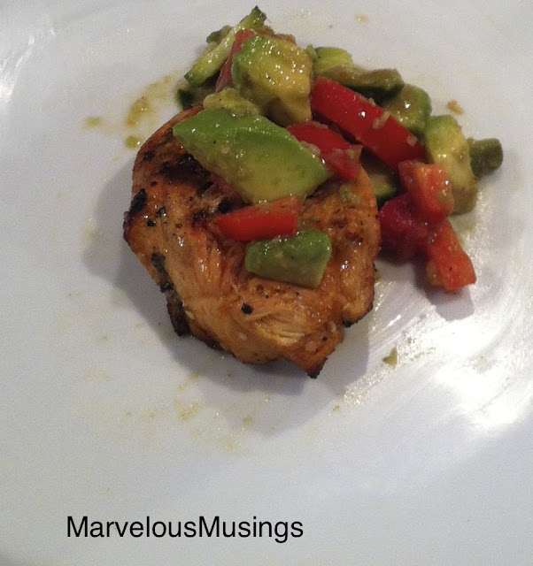 easy grilled boneless, skinless chicken breast with avocado, tomato and cucumbers/marvelousmusings