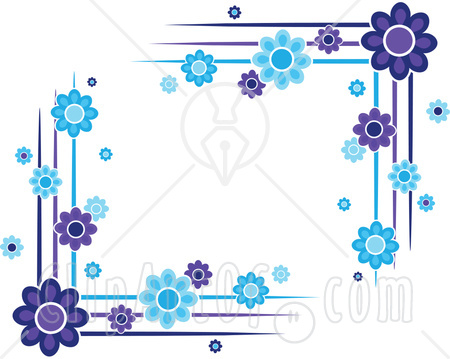 Blue beautiful designed border frame for editing