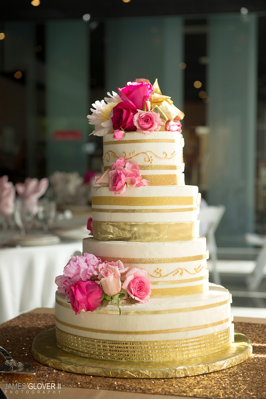 Gold and pink wedding cake by the Eldorado Bakery // James Glover Photography // Nevada Museum of Art // Take the Cake Event Planning