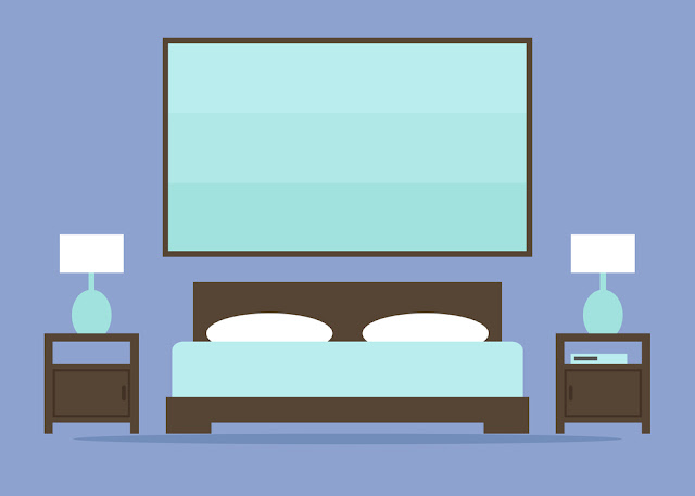 ilustração quarto de casal com cama e criados mudo