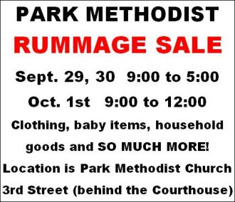 9-29/30/10-1 Park Rummage Sale