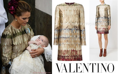 "Princess Madeleine of Sweden wore Valentino jacquard mini dress The dress retails for £2,175.00 on the ""Farfetch"" website."