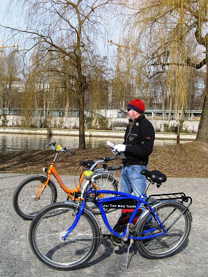 Mr A and our rented bicycles