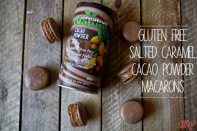 Gluten Free Salted Caramel Cacao Powder Macarons with Creative Nature Cacao Powder from Anyonita-Nibbles.co.uk
