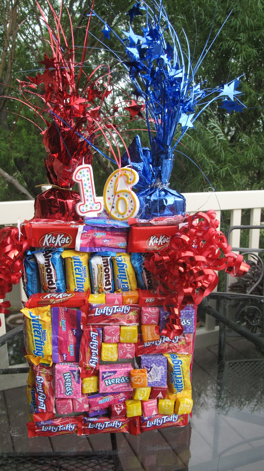 "red couch recipes: a sweet candy tower for a ""sweet"" 16 birthday"