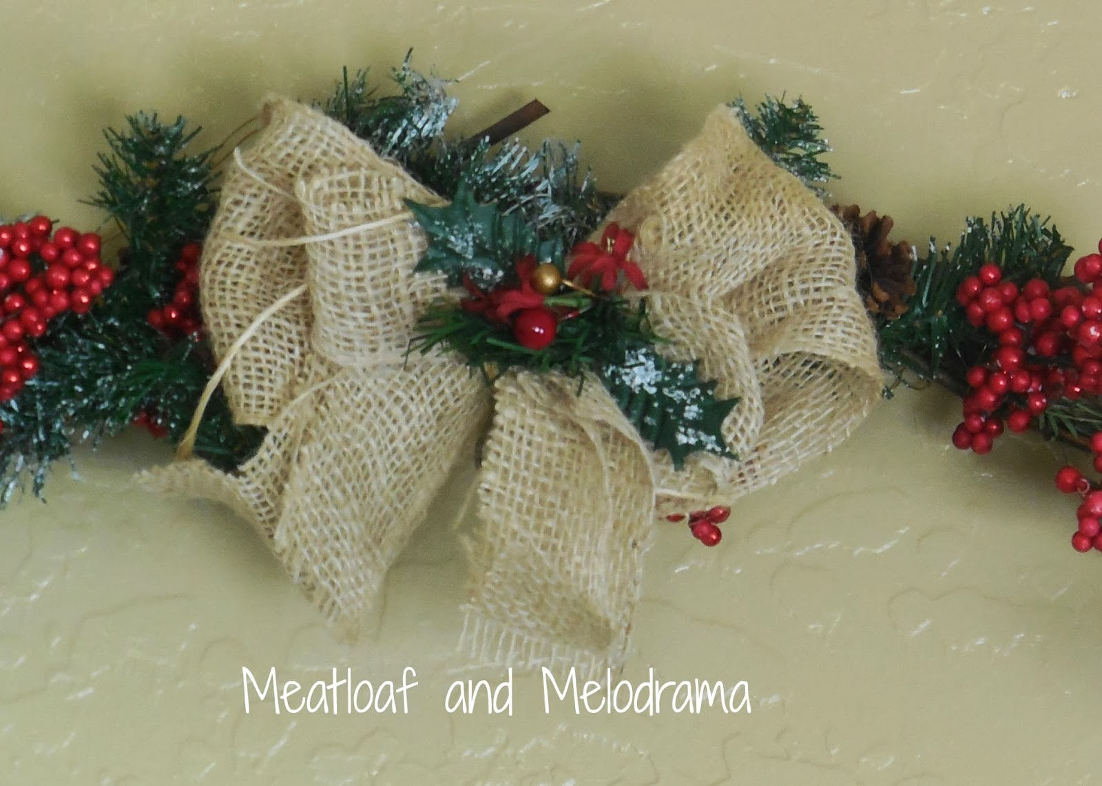 burlap bow on rustic wreath