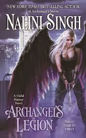 Dark purple background. A blonde angel wearing all leather and with black wings holds a crossbow.
