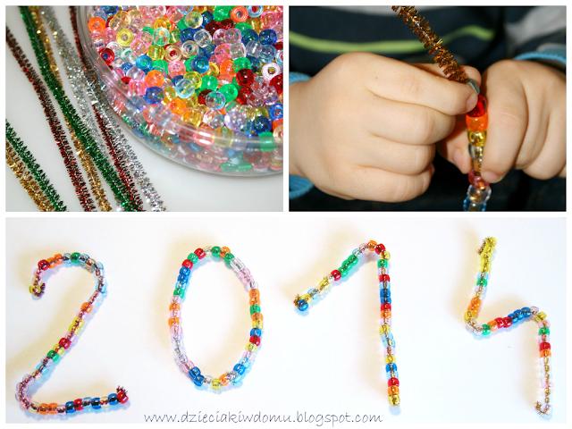 nawlekanie koralikow, kreatywna zabawa dla dzieci na nowy rok