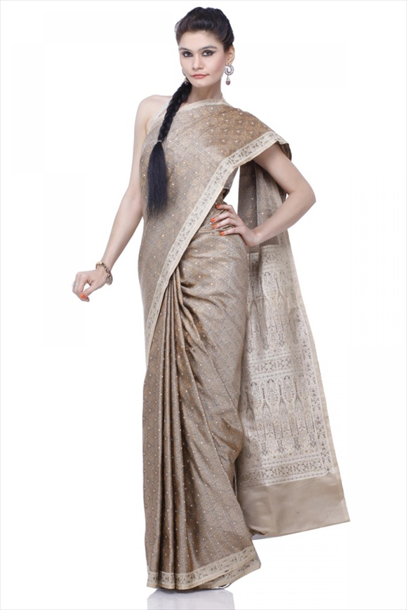 Dusky Brown Satin Banarasi Saree