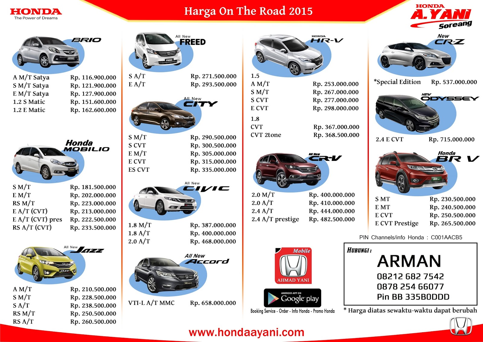 all new honda bandung price list