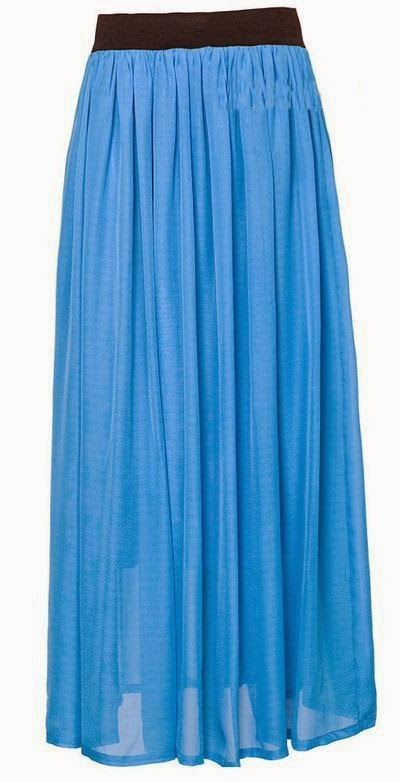 Tenue hijab jupe longue en bleu
