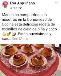 Eva Arquiñano publica en su página oficial mis Tocinillos de Cielo de Piña y Coco