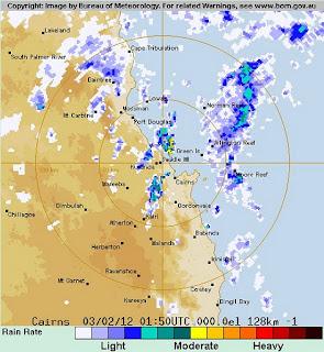 System 95P vor Queensland, Australien potentiell Tropischer Sturm JASMINE, Jasmine, Australien, Australische Zyklonsaison, Februar, 2012, aktuell, Radar Doppler Radar