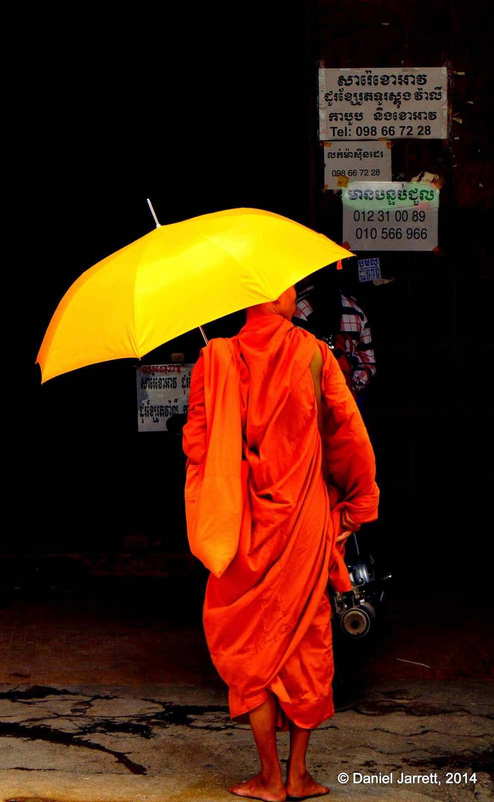 Monk on his morning alms, Phnom Penh, Cambodia