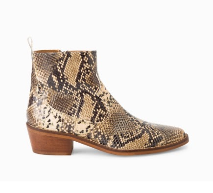 Mango Snake Leather Ankle Boots