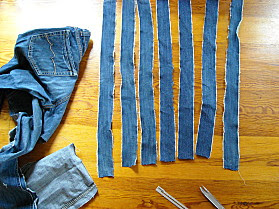 Recycling bag. Jeans