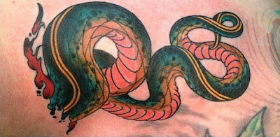 3D Snakes Tattoo on Neck