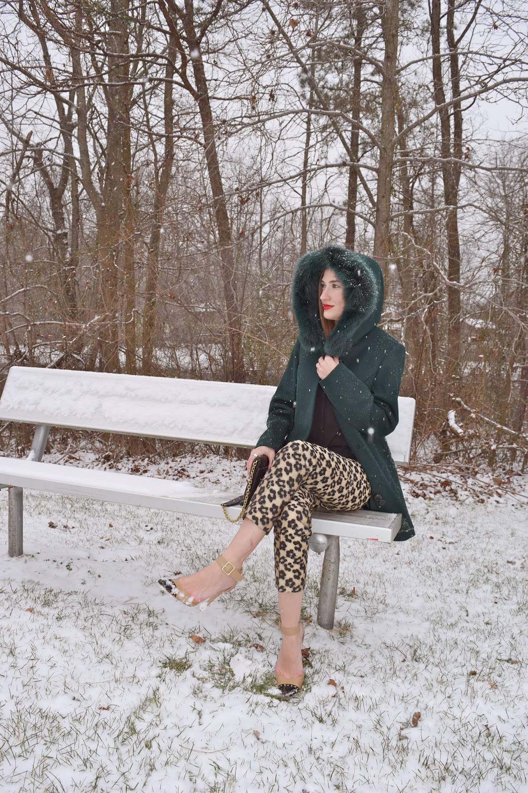 wearing Sachi Green Emerald Fur Coat, Ann Taylor Leopard Jaquard Pants, Snow Outfit