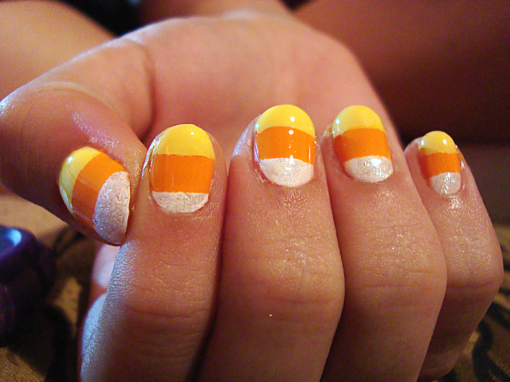 Halloween Nail Art #1: Candy Corn Nails & Glow-in-the-Dark Ghost ...