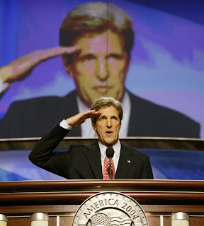 John Kerry salutes himself at the 2004 Democratic National Convention