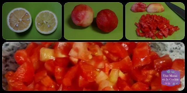 Limón, Tomate de pera troceado ensalada de tomate y aguacate