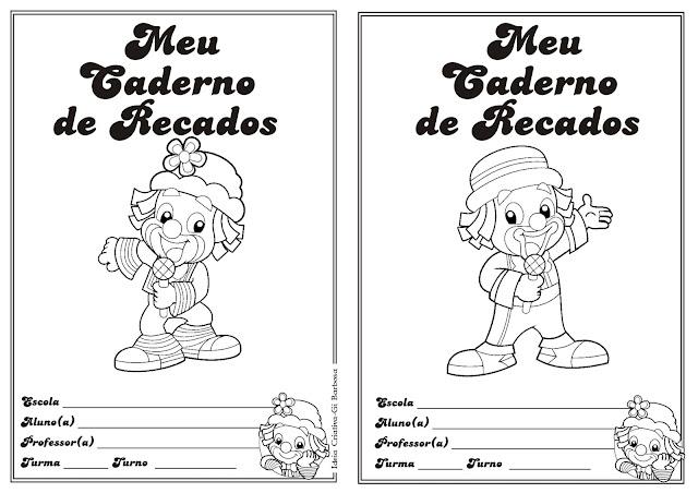 Capa Caderno de Recados Patati Patatá pra colorir