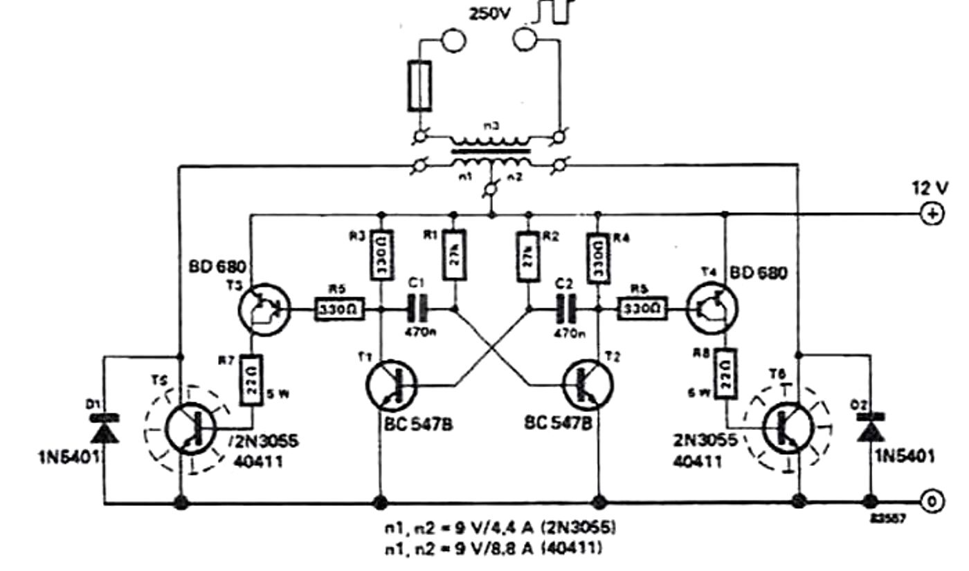 Scematic Diagram Panel Simple Soldering Iron Inverter Circuit Using 12v Battery Wiring Also 2n3055 How To Build A 100 Watt