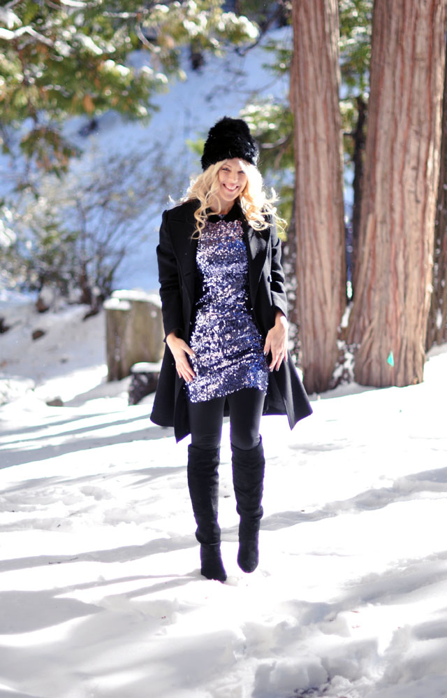 sequined party dress in the snow