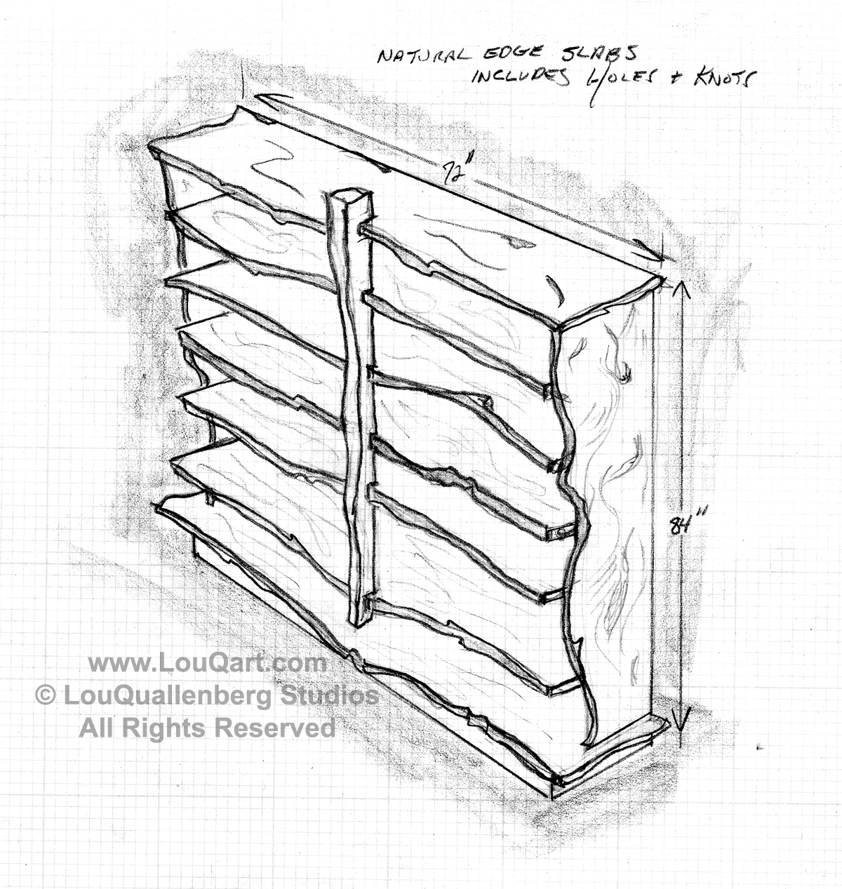 Lou Quallenbergs Client Sketch Of Mesquite Bookshelf