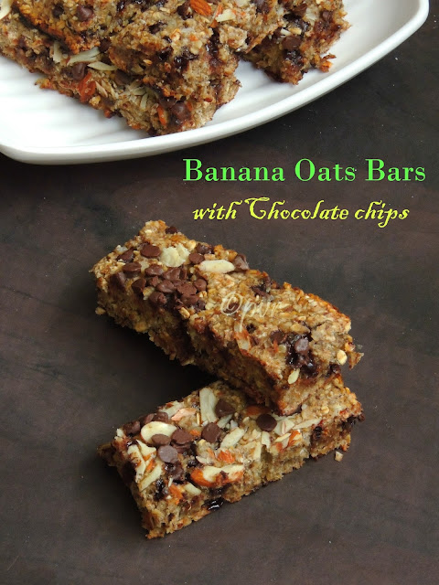 Oats banana Bar, Chocolate chips oats banana bars