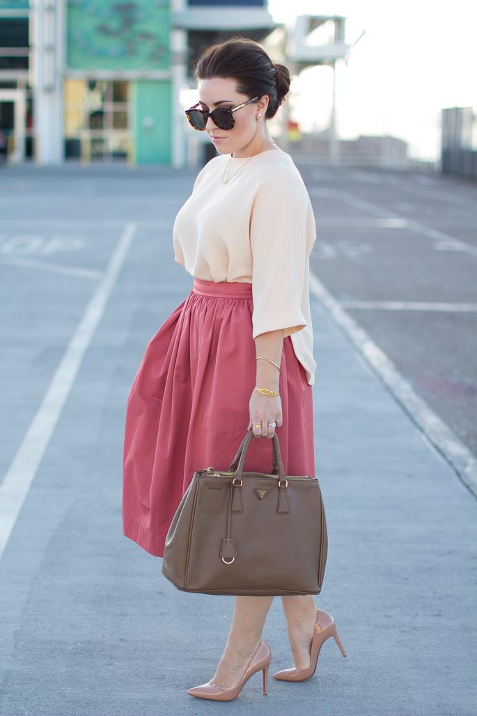 pink full skirt, kimono sleeve blouse, karen walker sunglasses, christian louboutin heels