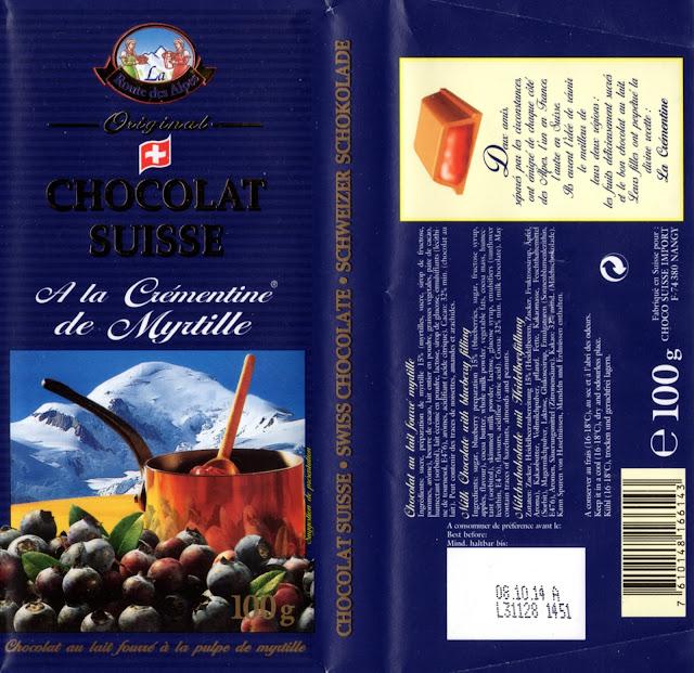 tablette de chocolat lait fourré orset la route des alpes à la crémentine de myrtille