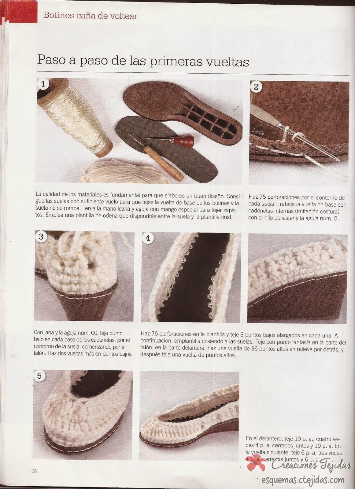 Zapatos a Crochet - Botines Cana de Voltear