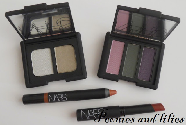 Nars Larger than life lipgloss in Rouge Tribal, Nars Blush in Outlaw, Nars Pure matte lipstick in Amsterdam, Nars Velvet gloss lip pencil in More, Nars High society eyeshadow trio, Nars Vent Glace eyeshadow duo, Nars fall 2012, Nars fall 2012 review