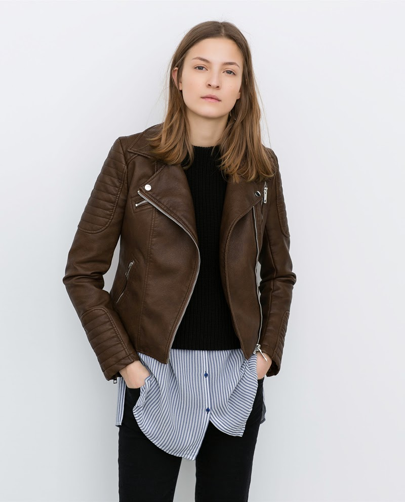BROWN BIKER JACKET BY MANGO