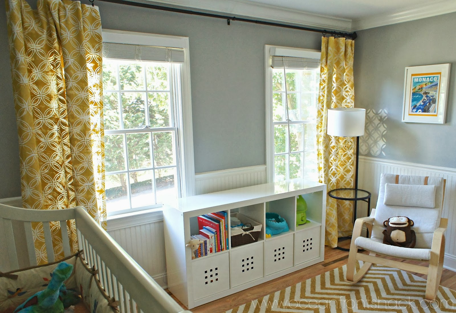 One curtain panel on window - Stenciled Curtains