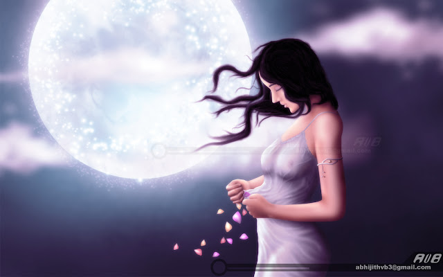 dreaming girl woman lady moon night petals art artist photoshop painting drawing draw software  digital surreal horror sadness sad death concept abhijithvb abhijith vb avb india kerala