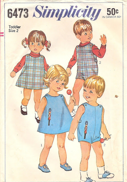 1960s 1970s kids baby overalls applique vintage pattern Just Peachy, Darling