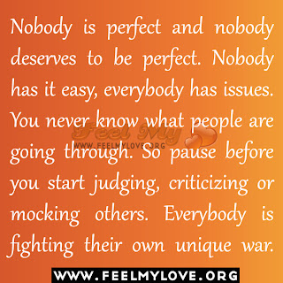 Nobody is perfect and nobody deserves to be perfect