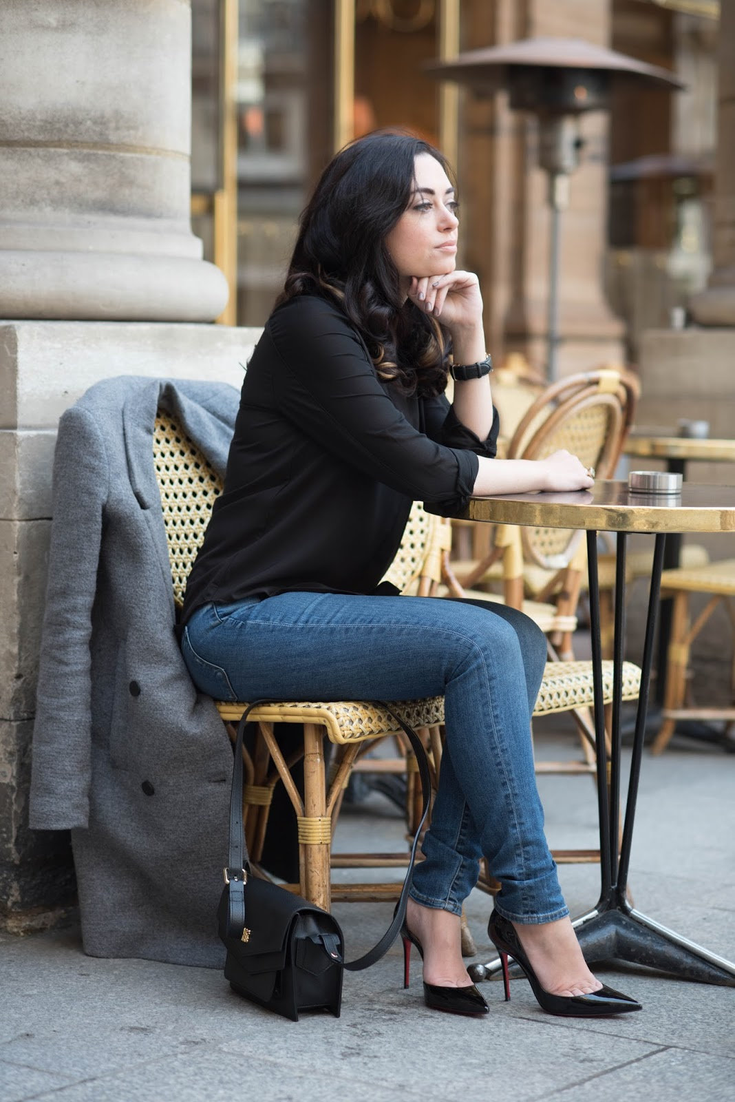 coco and vera, top paris fashion blog, casual style, outfit, angel reinares handbag, christian louboutin heels, the castings jeans, paris street style, cafe life, chic wish blouse, CC Lifestyles watch