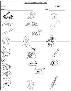 Teste para Sondagem - Leitura e escrita - Atividade para Alfabetização 2