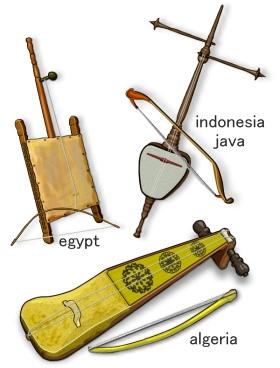 世界のラバーブ(アルジェリア、エジプト、インドネシア)