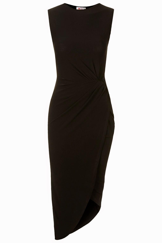 black knotted dress, side knot black dress,