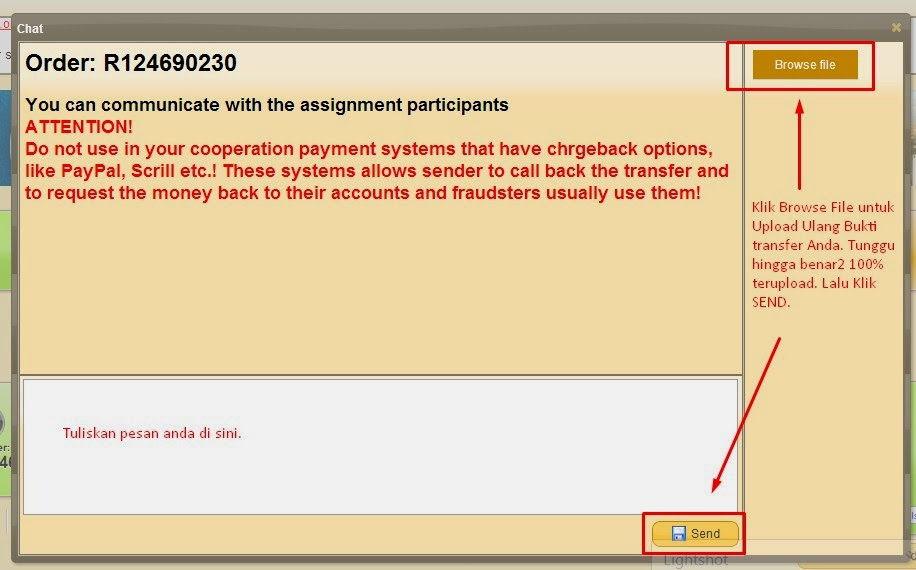 cara upload ulang bukti transfer