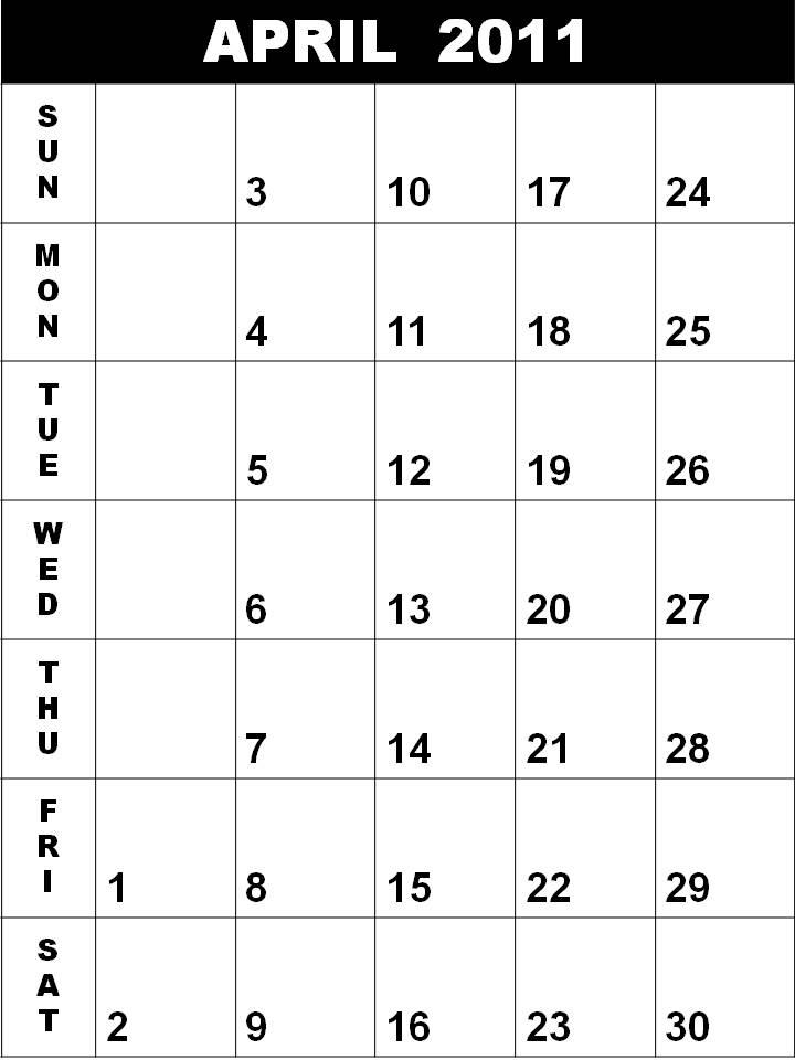 april 2011 blank calendar. april 2011 blank calendar.