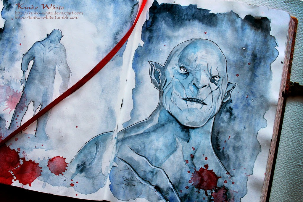 08-The-Pale-Orc-Kinko-White-The-Hobbit-Watercolors-www-designstack-co