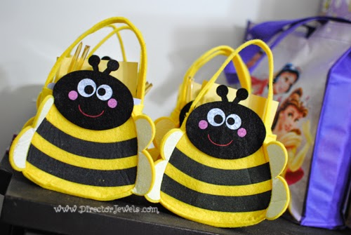 Bee Favor Bags. Disney Winnie the Pooh Birthday Tea Party Decorations and Theme for Toddlers. 2nd Birthday Party Ideas. Come to tea with Piglet, Eeyore, Rabbit, Owl, Christopher Robin.
