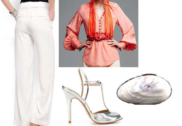 wide trousers, elegant look, zara silver sandals,spring look, white look,armani privè shell clutch
