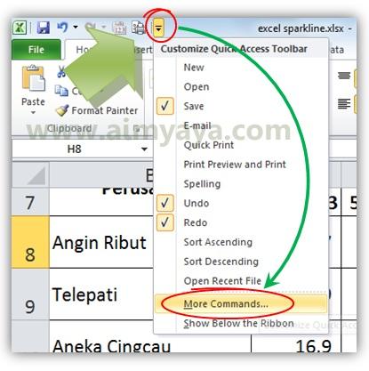 Gambar: Mengatur quick access toolbar di microsoft excel
