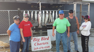 southwest mi. fishing, st. joseph michigan charter fishing, salmon and trout, big bird charters